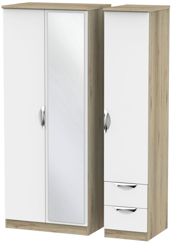 Camden 3 Door 2 Right Drawer Mirror Wardrobe - White and Bordeaux