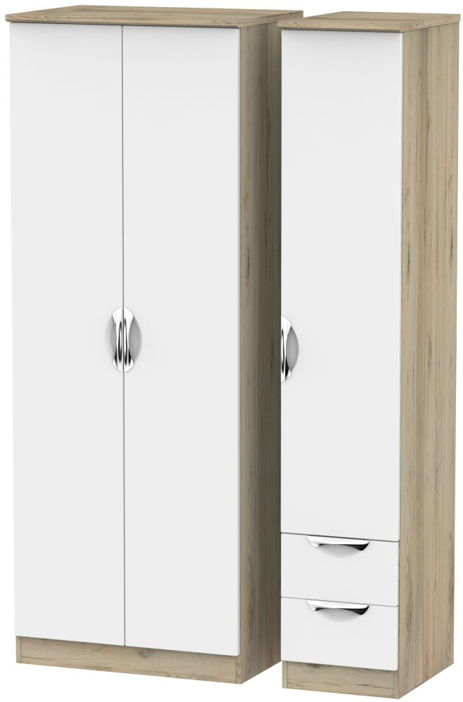 Camden White Matt and Bordeaux 3 Door 2 Drawer Tall Plain Triple Wardrobe