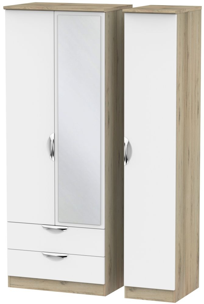Camden 3 Door 2 Left Drawer Tall Mirror Wardrobe - White and Bordeaux
