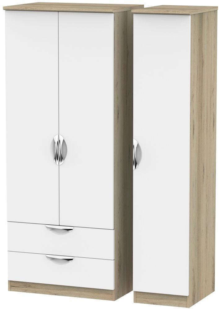Camden 3 Door 2 Left Drawer Wardrobe - White and Bordeaux