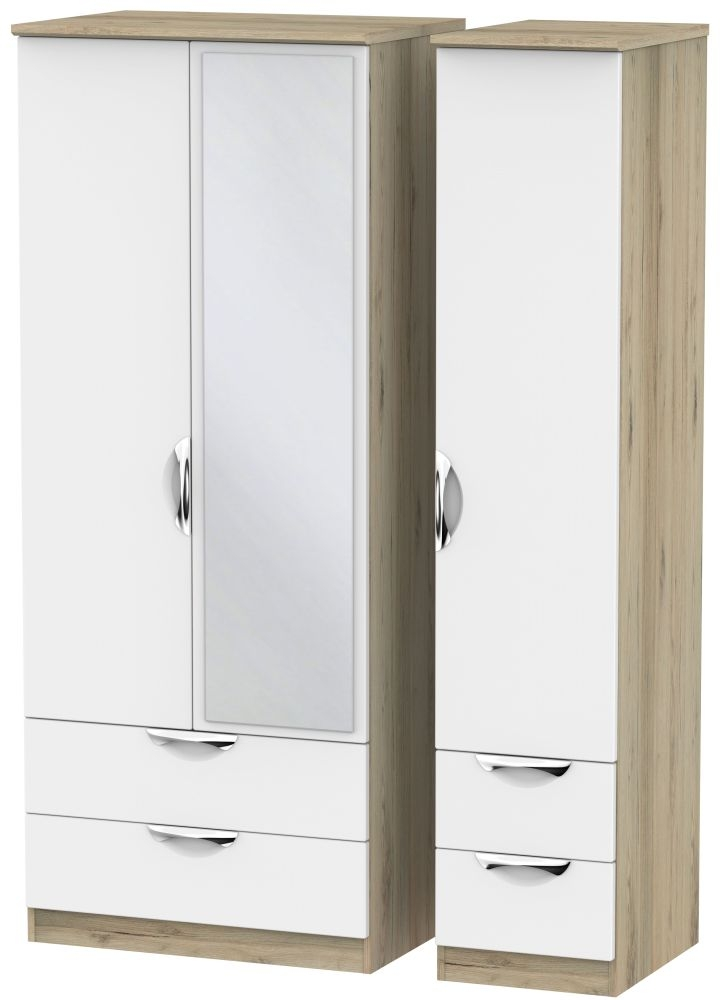 Camden White Matt and Bordeaux 3 Door 4 Drawer Mirror Triple Wardrobe