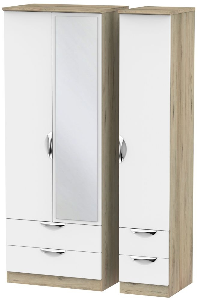 Camden 3 Door 4 Drawer Tall Mirror Wardrobe - White and Bordeaux