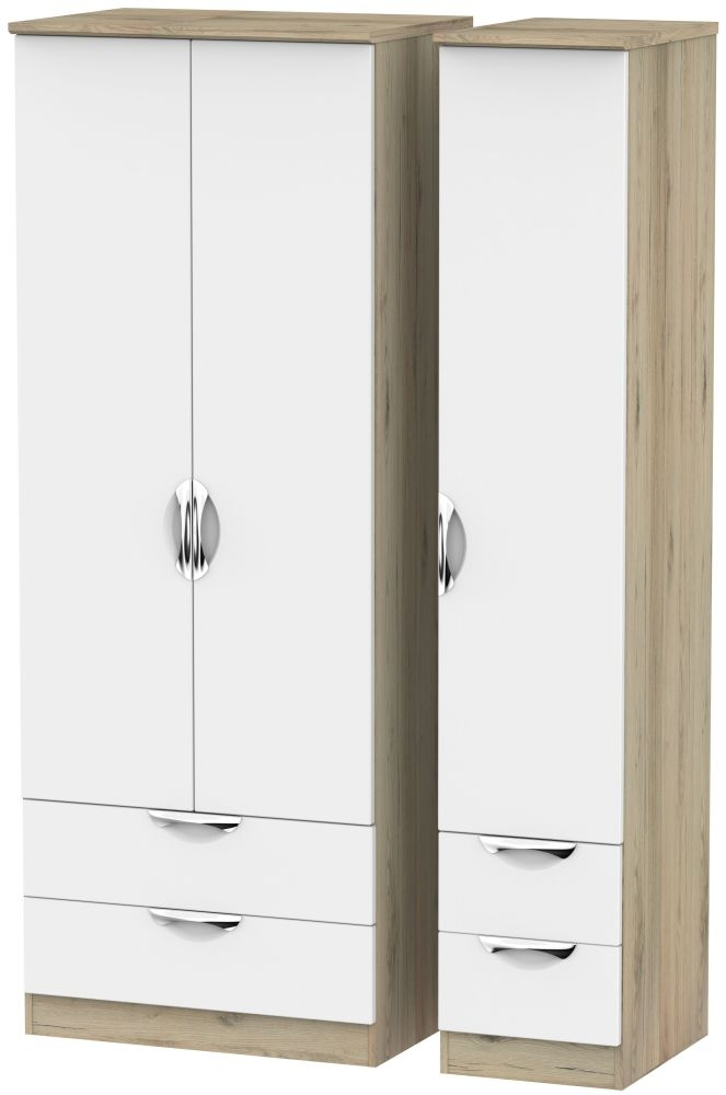 Camden 3 Door 4 Drawer Tall Triple Wardrobe - White and Bordeaux