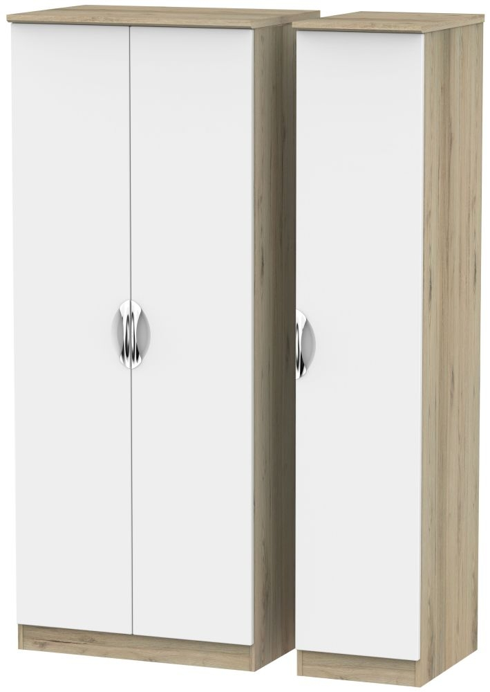 Camden White Matt and Bordeaux 3 Door Plain Triple Wardrobe