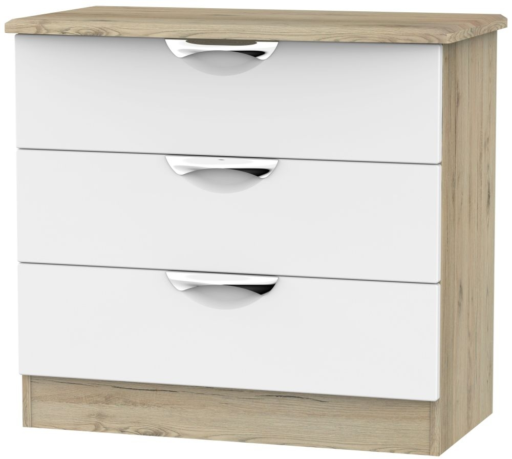 Camden White Matt and Bordeaux 3 Drawer Chest