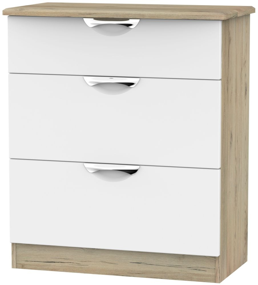 Camden White Matt and Bordeaux 3 Drawer Deep Chest