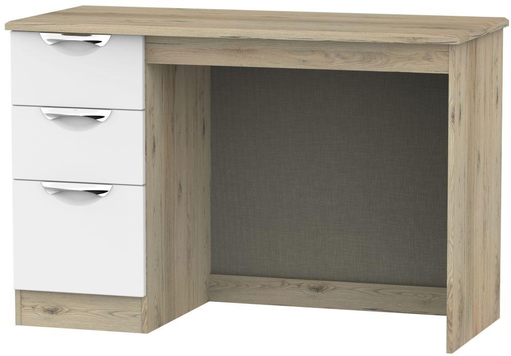 Camden White Matt and Bordeaux 3 Drawer Desk