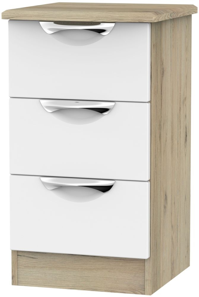 Camden White Matt and Bordeaux 3 Drawer Bedside Cabinet