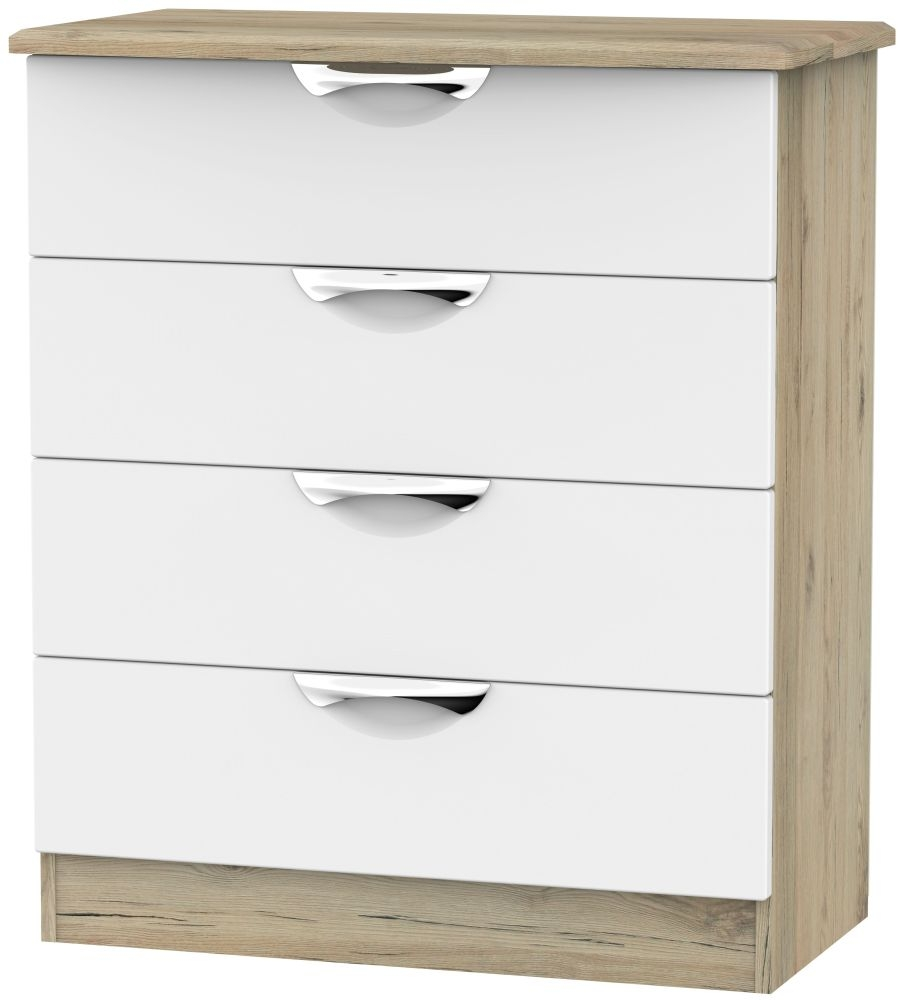 Camden White Matt and Bordeaux 4 Drawer Chest