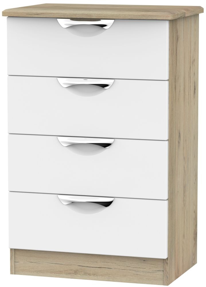 Camden 4 Drawer Midi Chest - White and Bordeaux