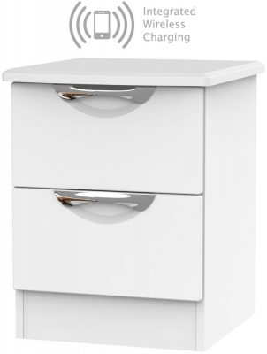 Camden White Matt 2 Drawer Bedside Cabinet with Integrated Wireless Charging