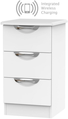 Camden White Matt 3 Drawer Bedside Cabinet with Integrated Wireless Charging