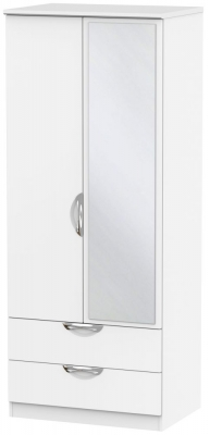 Camden White Matt 2 Door 2 Drawer Mirror Wardrobe