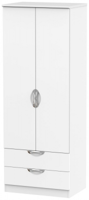 Camden White Matt 2 Door 2 Drawer Tall Double Wardrobe