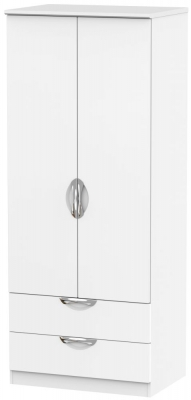 Camden White Matt 2 Door 2 Drawer Wardrobe