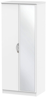Camden White Matt 2 Door Mirror Wardrobe
