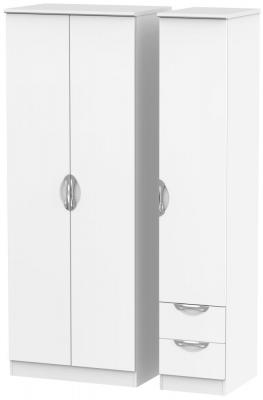 Camden White Matt 3 Door 2 Drawer Tall Plain Triple Wardrobe