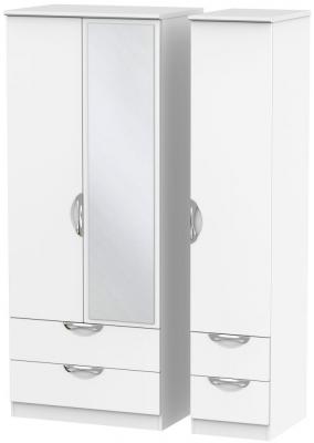 Camden White Matt 3 Door 4 Drawer Mirror Triple Wardrobe