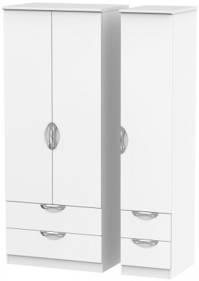 Camden White Matt 3 Door 4 Drawer Triple Wardrobe