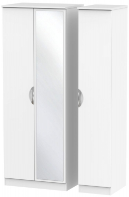Camden White Matt 3 Door Tall Mirror Triple Wardrobe
