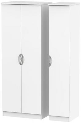 Camden White Matt 3 Door Tall Plain Triple Wardrobe