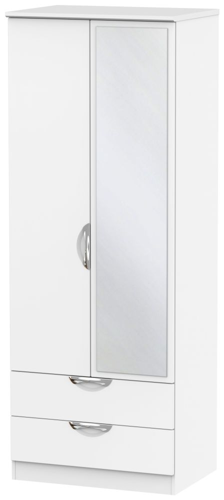Camden White Matt 2 Door Tall Mirror Combi Wardrobe