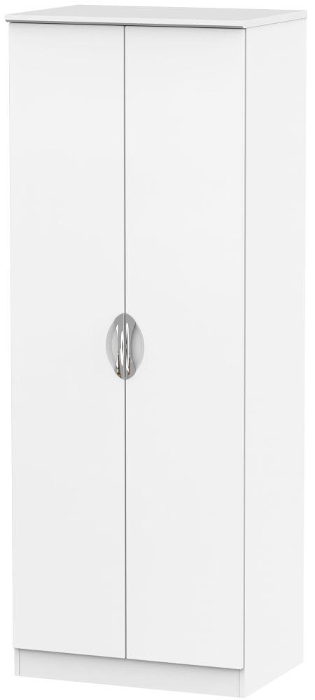 Camden White Matt 2 Door Tall Double Hanging Wardrobe