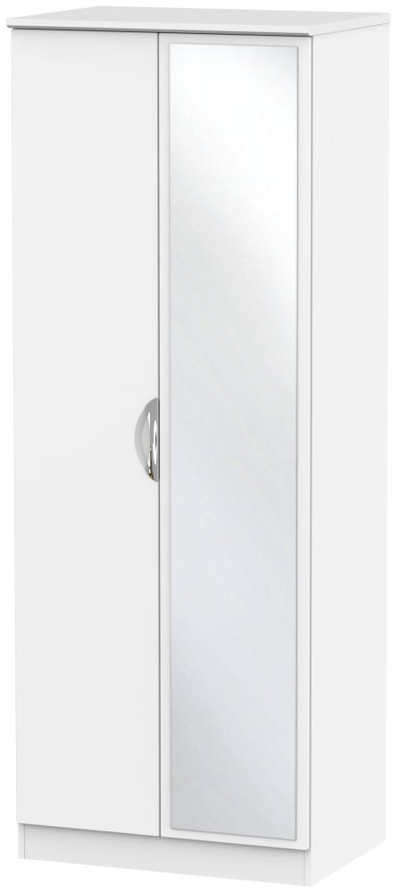 Camden White Matt 2 Door Tall Mirror Double Wardrobe