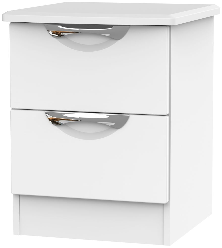 Camden White Matt 2 Drawer Locker Bedside Cabinet