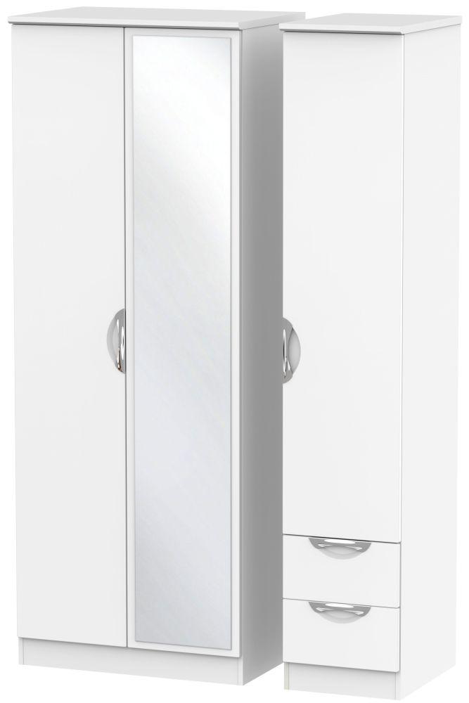 Camden White Matt 3 Door 2 Drawer Tall Mirror Triple Wardrobe