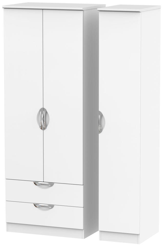 Camden White Matt 3 Door 2 Drawer Tall Wardrobe
