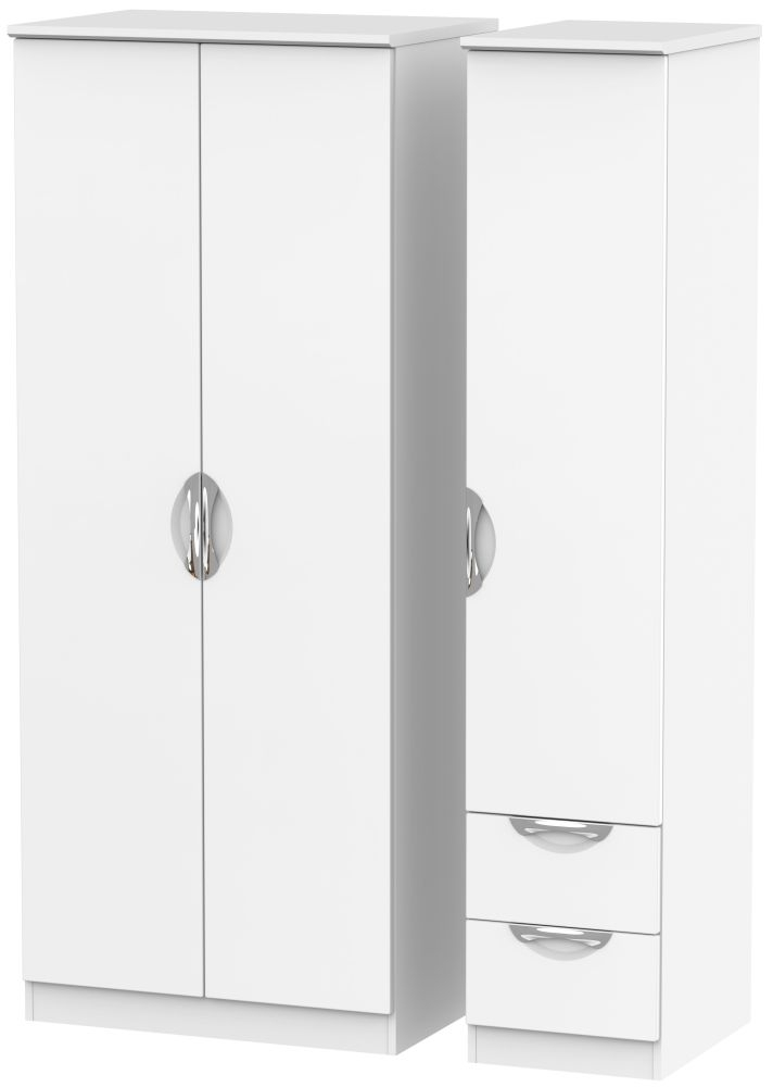 Camden White Matt 3 Door 2 Right Drawer Plain Wardrobe
