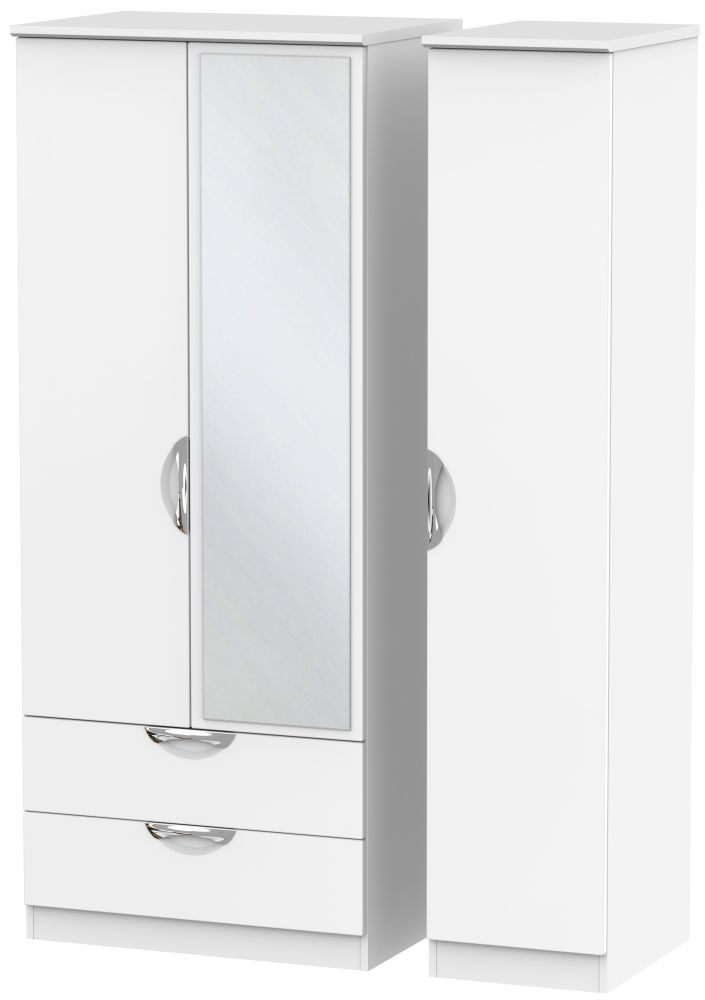 Camden White Matt 3 Door 2 Left Drawer Mirror Triple Wardrobe