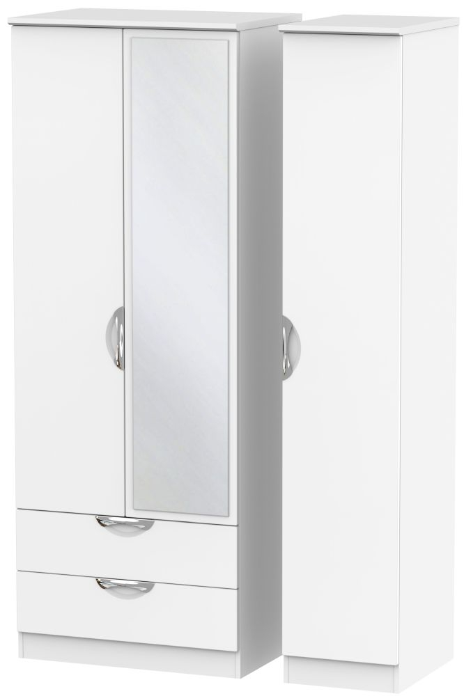 Camden White Matt 3 Door 2 Left Drawer Tall Mirror Wardrobe