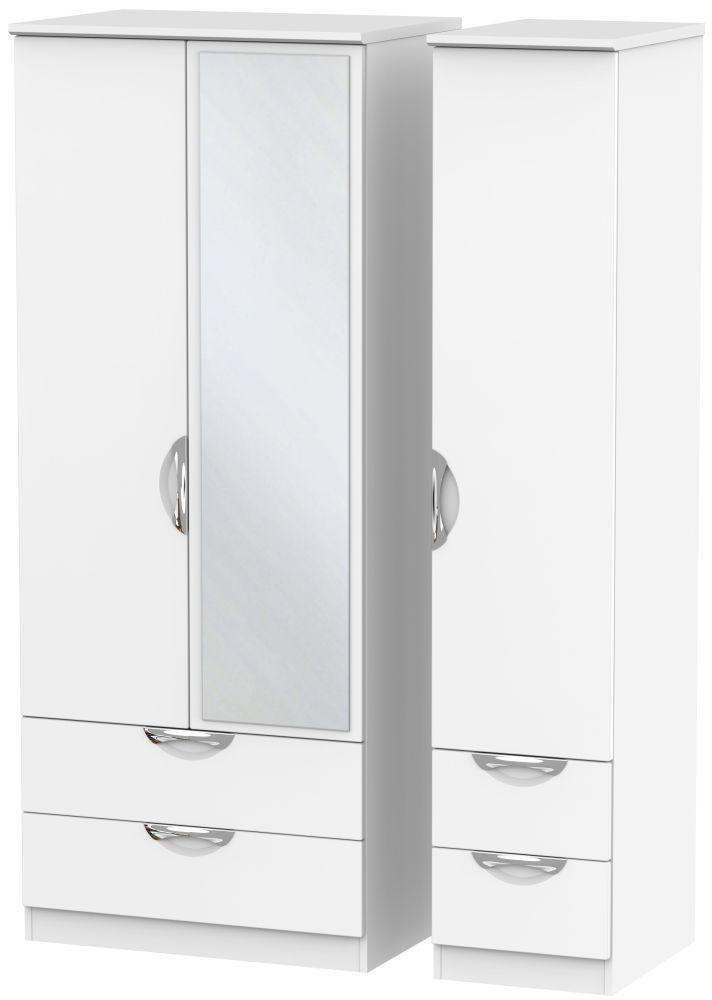 Camden White Matt 3 Door 4 Drawer Mirror Wardrobe