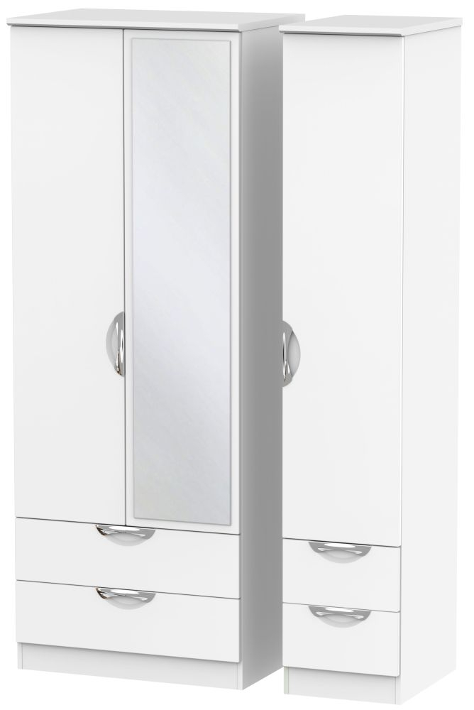 Camden White Matt 3 Door 4 Drawer Tall Mirror Triple Wardrobe