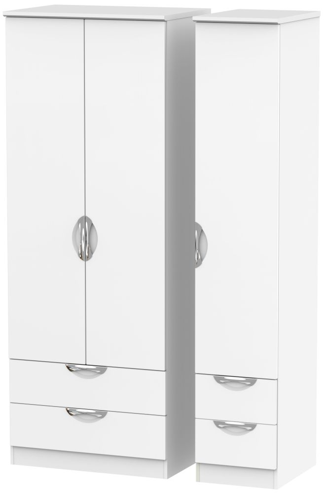 Camden White Matt 3 Door 4 Drawer Tall Triple Wardrobe