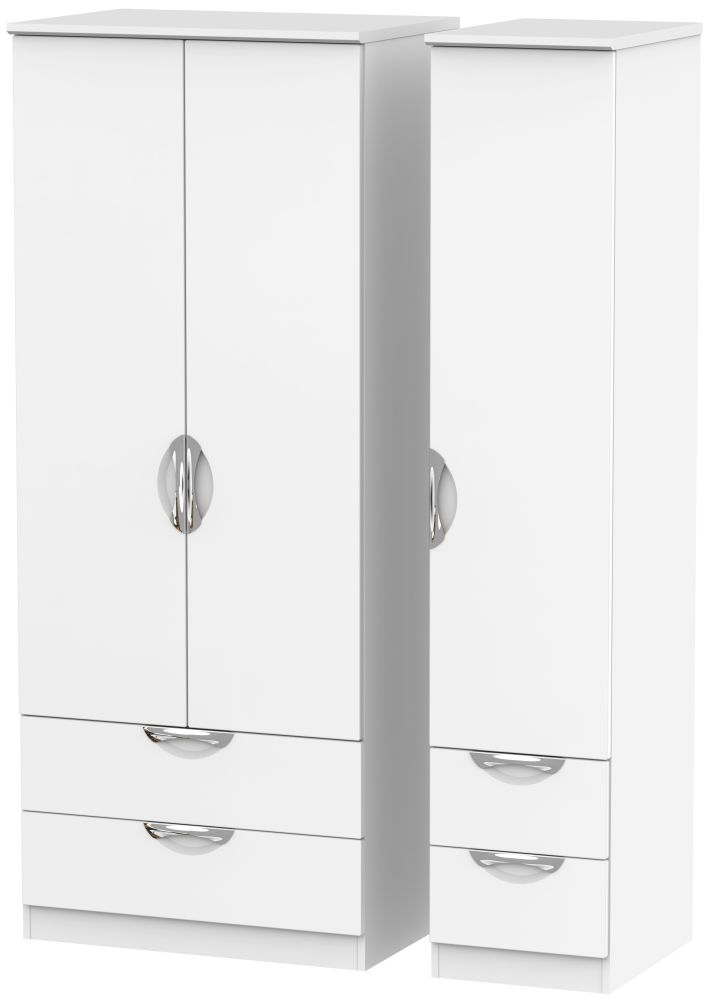 Camden White Matt 3 Door 4 Drawer Wardrobe