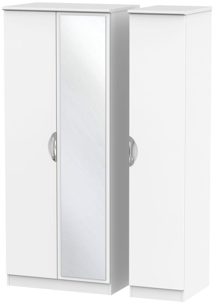 Camden White Matt 3 Door Mirror Triple Wardrobe
