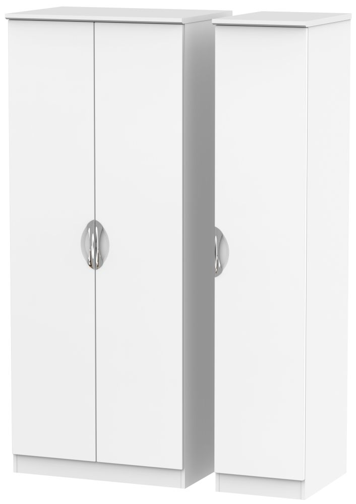 Camden White Matt 3 Door Plain Wardrobe