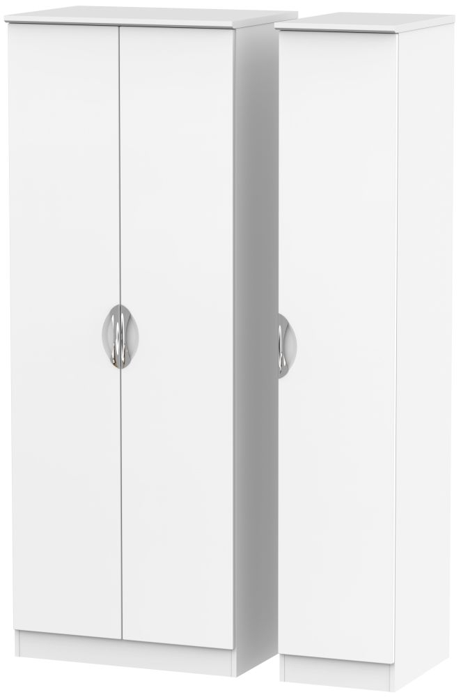 Camden White Matt 3 Door Tall Plain Wardrobe