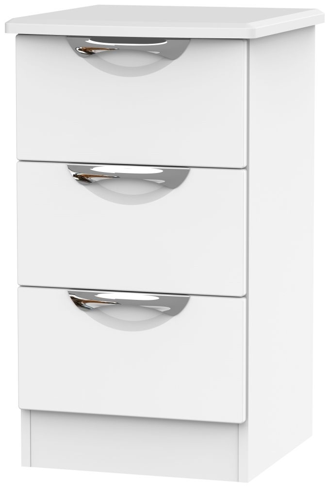 Camden White Matt 3 Drawer Locker Bedside Cabinet