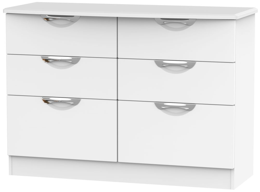 Camden White Matt 6 Drawer Midi Chest