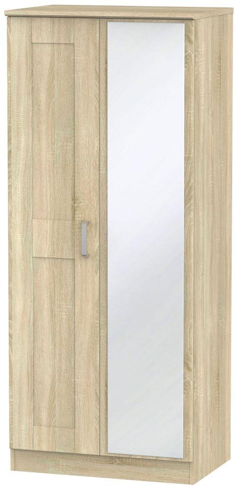Cardigan Bay Bardolino Oak Wardrobe - 2 ft 6in with Mirror