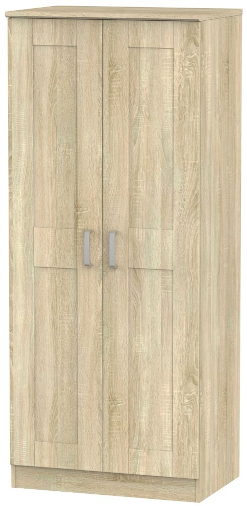 Cardigan Bay Bardolino Oak Wardrobe - Double Plain with Double Hanging