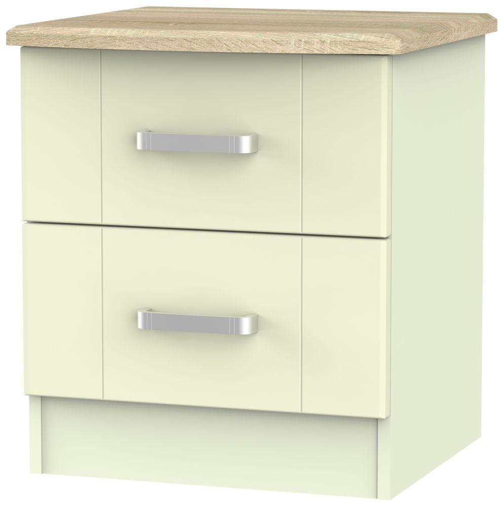 Cardigan Bay Cream with Bardolino Oak Top Bedside Cabinet - 2 Drawer Locker