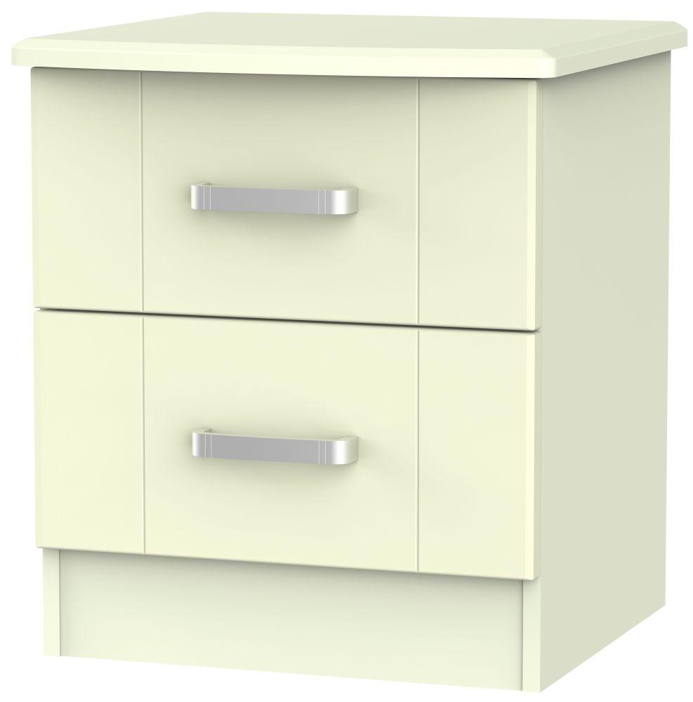 Cardigan Bay Cream Bedside Cabinet - 2 Drawer Locker