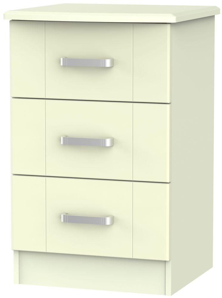 Cardigan Bay Cream Bedside Cabinet - 3 Drawer Locker