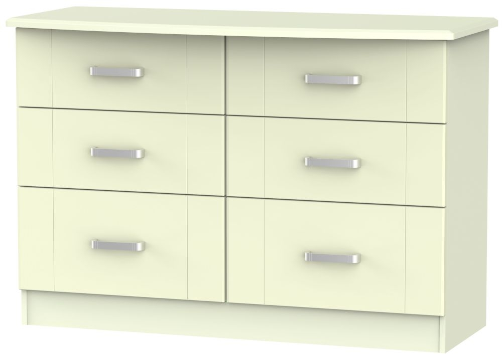 Cardigan Bay Cream Chest of Drawer - 6 Drawer Midi