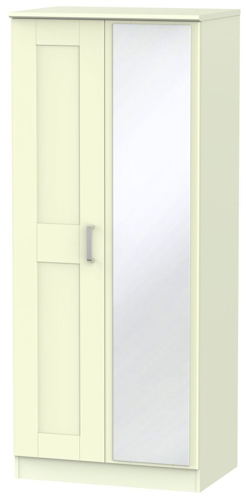 Cardigan Bay Cream Wardrobe - 2 ft 6in with Mirror